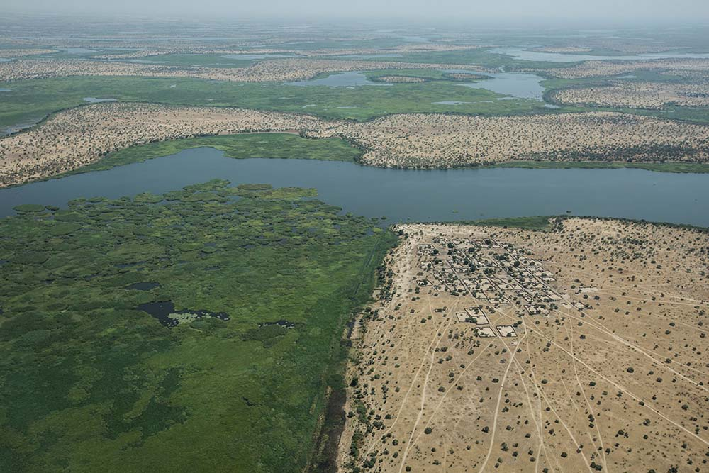 Chad. View of Lake Chad from the air, showing floating plants.